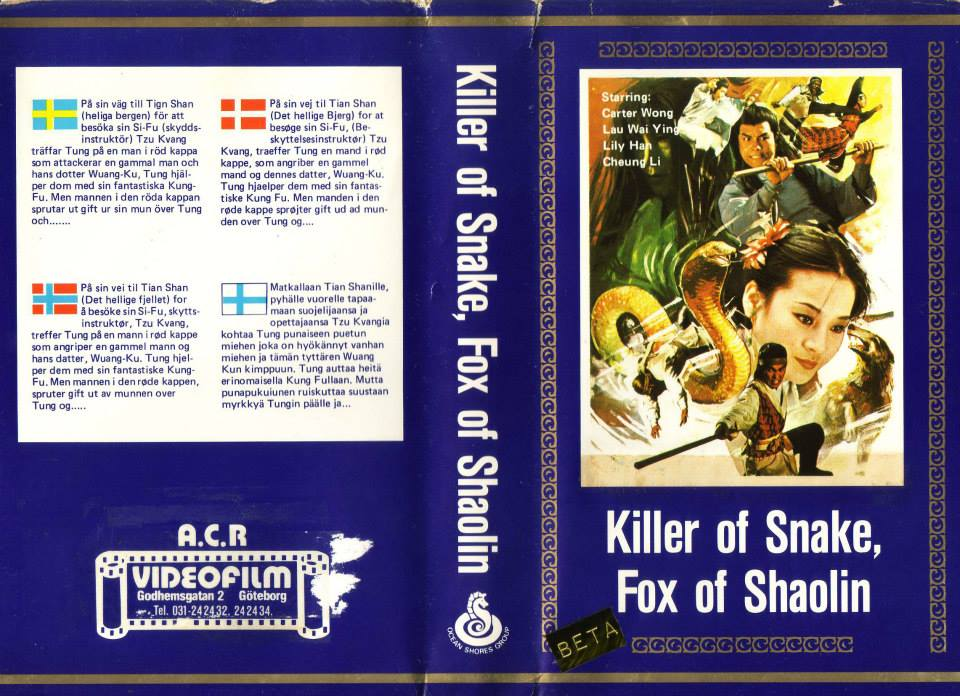 KILLER OF SNAKE,FOX OF SHAOLIN (vhs) sliten