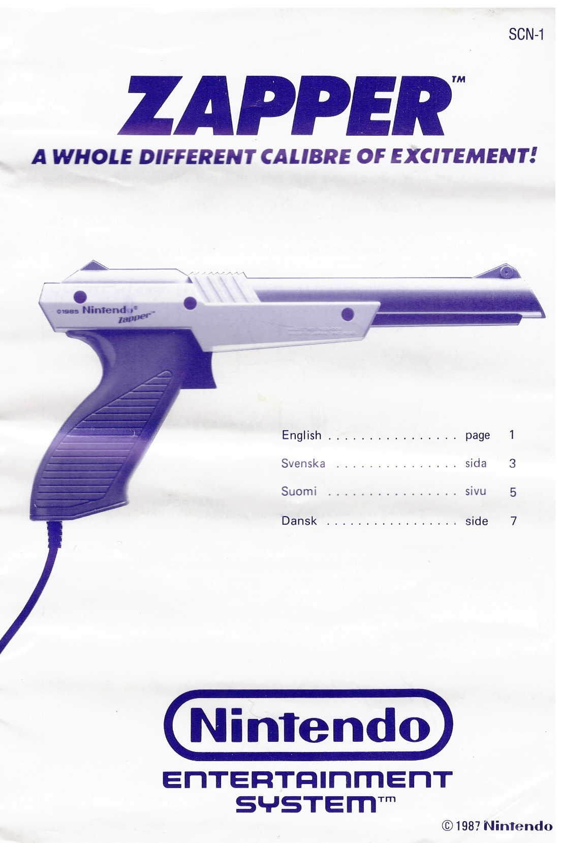 ZAPPER (NES MANUAL) SCN-1