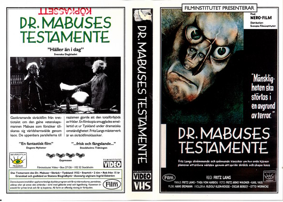 DR. MABUSES TESTAMENTE (VHS)