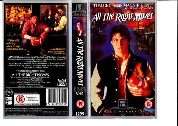 ALLA THE RIGHT MOVES (VHS) (UK-IMPORT)