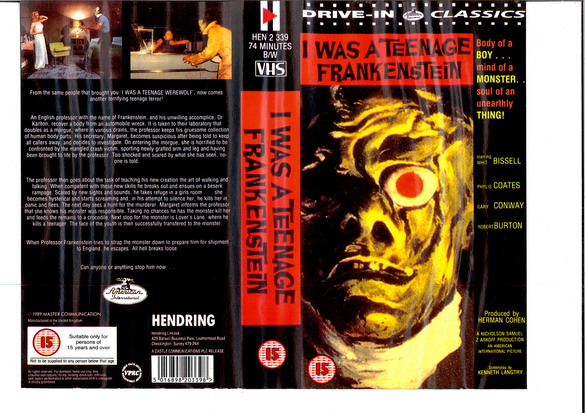I WAS A TEENAGE FRANKENSTEIN (VHS) uk