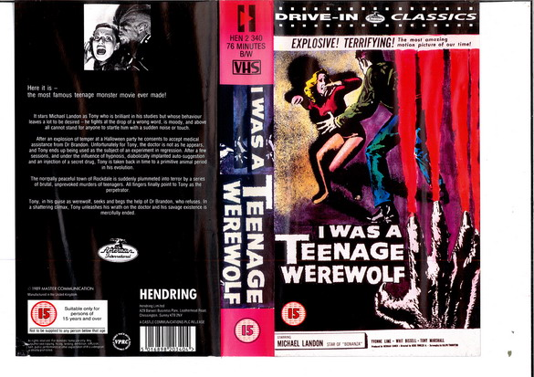 I WAS A TEENAGE WEREWOLF - UK (vhs)
