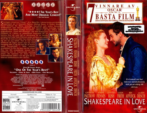 SHAKESPEARE IN LOVE (VHS) ny