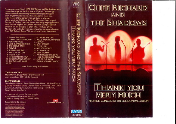 CLIFF RICHARD AND THE SHADOWS - THANK YOU VERY MUCH (VHS)