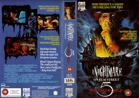 A NIGHTMARE ON ELMSTREET 5 (VHS) UK