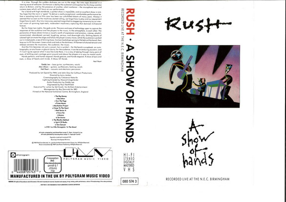RUSH: A SHOW OF HANDS (VHS)