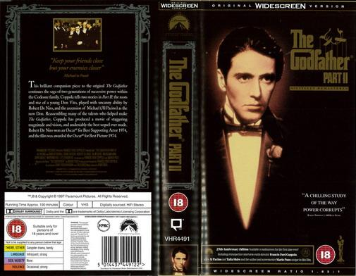 GODFATHER 2  (VHS) UK