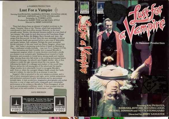 LUST FOR A VAMPIRE (VHS) AUS