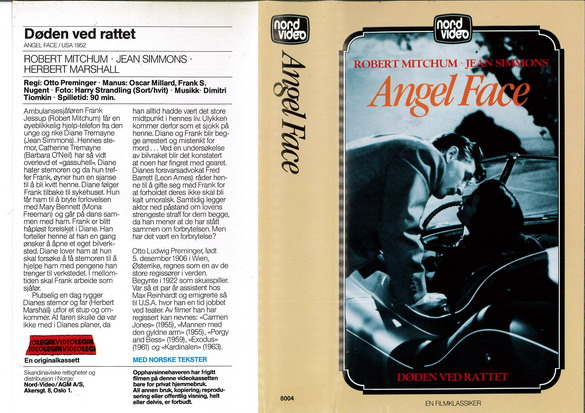 ANGEL FACE  (VHS) NORGE
