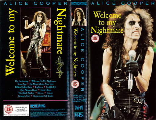 ALICE COOPER - WELCOME TO MY NIGHTMARE  (VHS)