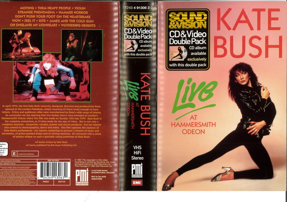 KATE BUSH - LIVE AT HAMMERSMITH ODEON  (VHS)