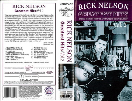 RICK NELSON: GREATEST HITS VOL2 (VHS)