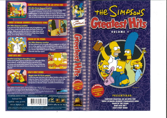 SIMPSONS: GREATEST HITS VOL 1 (VHS)
