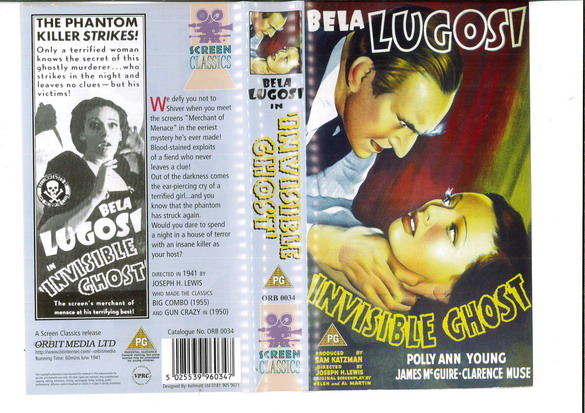 INVISIBLE GHOST (VHS) UK