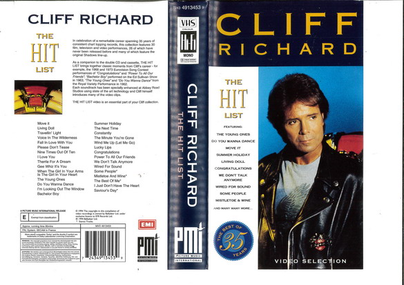 CLIFF RICHARD -THE HIT LIST (VHS)