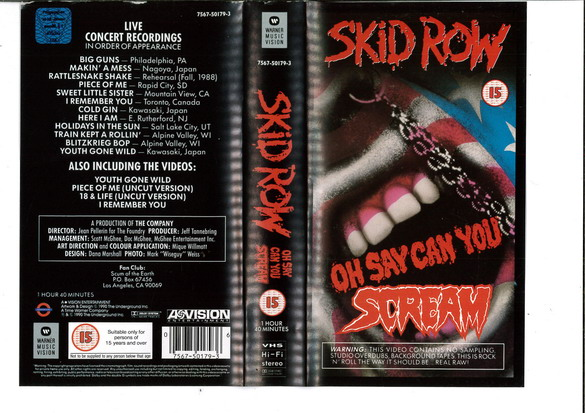 SKIDROW - OH SAY CAN YOU SCREAM (VHS)