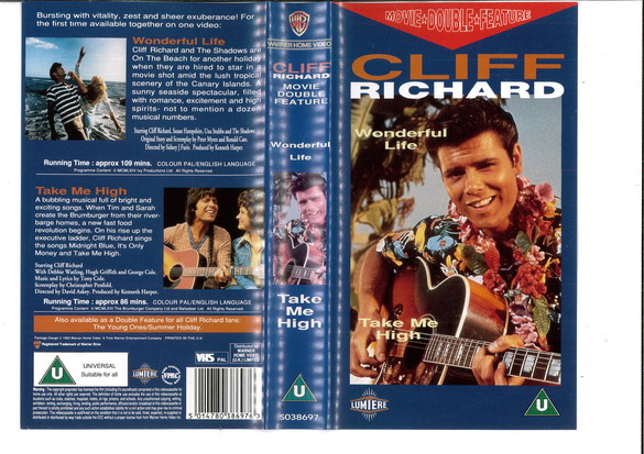 CLIFF RICHARD - WONDERFUL LIFE/TAKE ME HIGH (VHS)