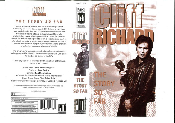 CLIFF RICHARD - THE STORY SO FAR (VHS)