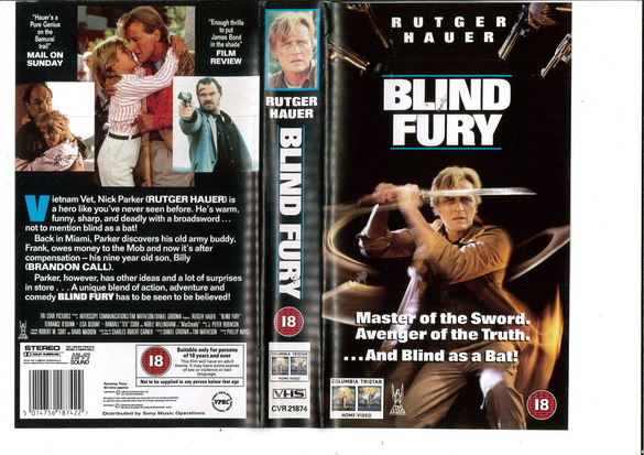 BLIND FURY (VHS) UK