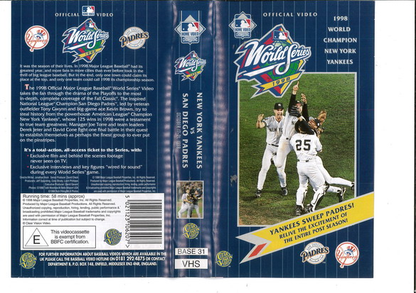 WORLD SERIES 1998 NEW YORK YANKEES vs SAN DIEGO PADRES (VHS) UK