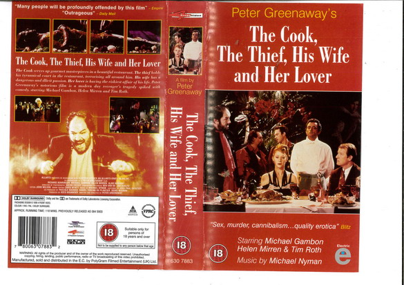 THE COOK,THE THIEF,HIS WIFE AND HER LOVER (VHS) UK