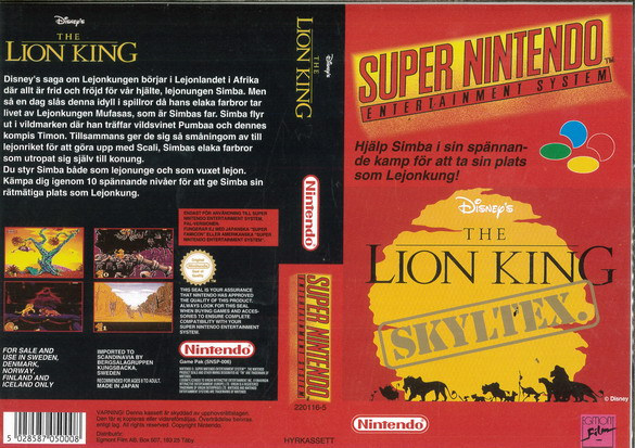 THE LION KING (SNES-OMSLAG)