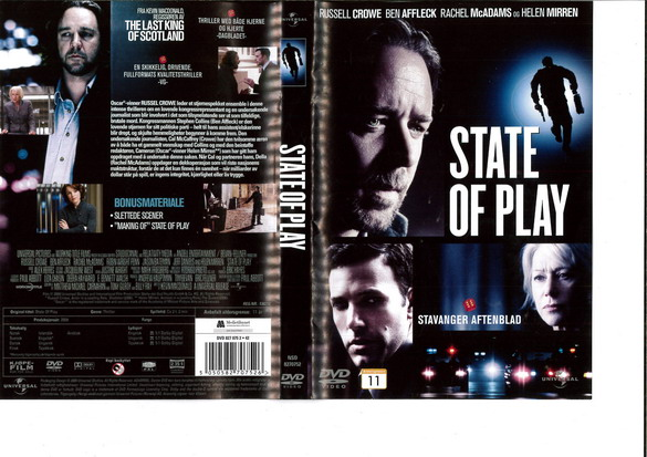 STATE OF PLAY (DVD OMSLAG)