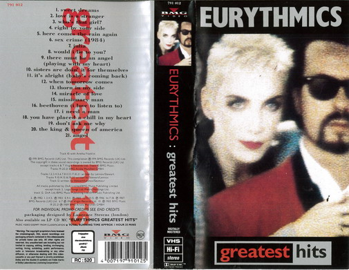EURYTHMICS: GREATEST HITS (VHS)