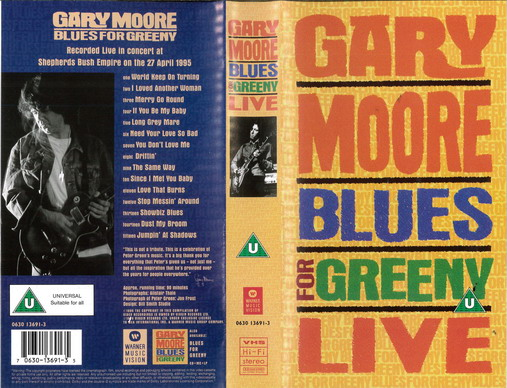 GARY MOORE: BLUES FOR GREENY LIVE (VHS)