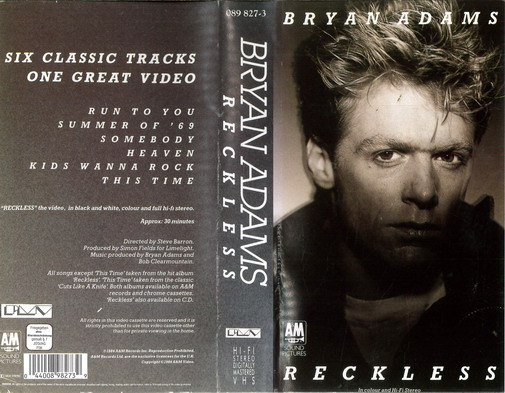 BRYAN ADAMS: RECKLESS (VHS)