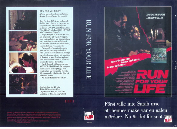 RUN FOR YOUR LIFE (VHS)