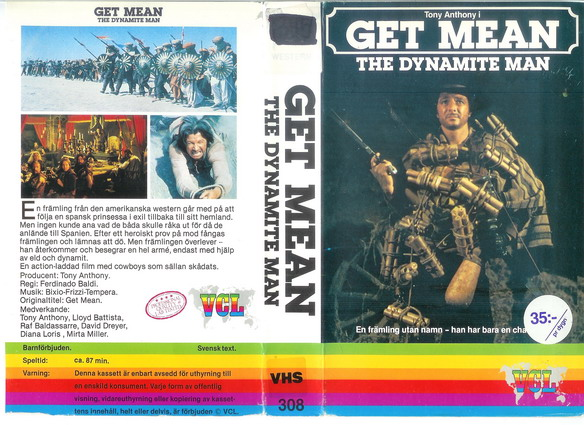 308 GET MEAN -THE DYNAMITE MAN  (VHS) KOPIERAT OMSLAG