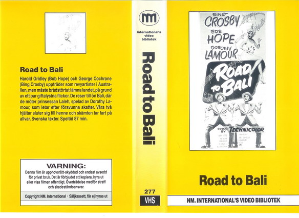 277 ROAD TO BALI  (VHS)