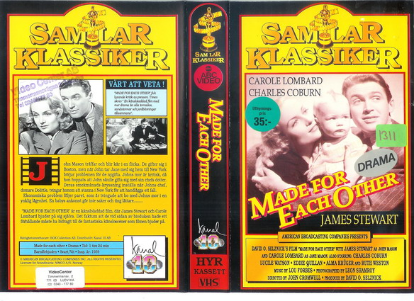 MADE FOR EACH OTHER (VHS)