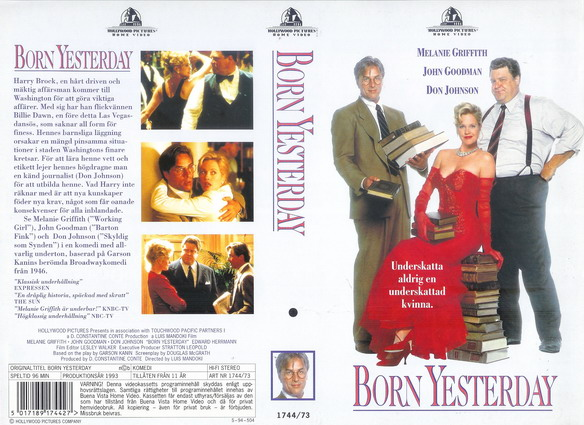 BORN YESTERDAY (VHS)