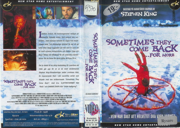 SOMETIMES THEY COME BACK ...FOR MORE (VHS)